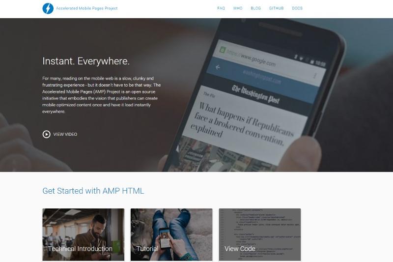 Screenshot AMP Website