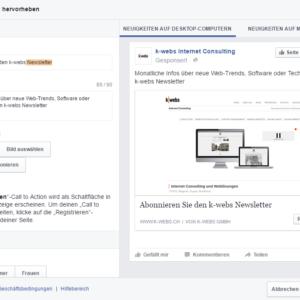Bild-Ausschnitt von Facebooks verschiedenen Möglichkeiten, den Call to Action hervorzuheben.