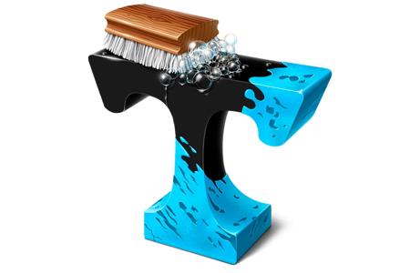 Verschmutzter Buchstabe T, der von einer Bürste sauber gewaschen wird.