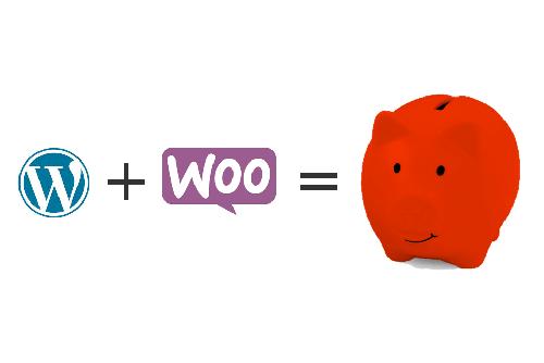 Wordpress Logo + WooCommerce Logo = Rotes Sparschwein