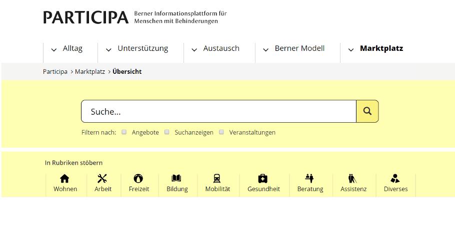 Screenshot Website Participa mit Marktplatz
