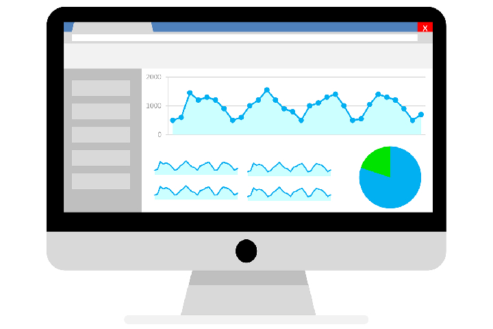 PC-Bildschirm mit Datenauswertung
