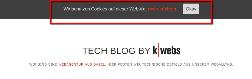 Cookiehinweis k-webs Techblog