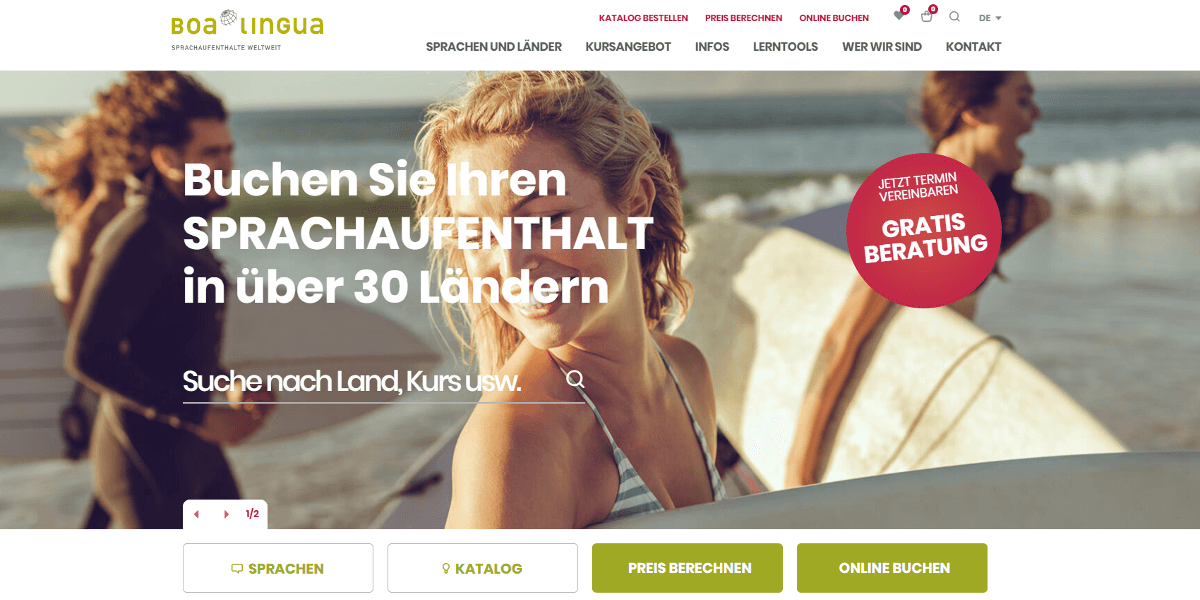 Screenshot Website boalinga.ch