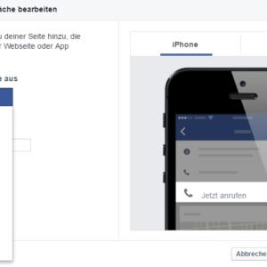 Bild-Ausschnitt von Facebooks verschiedenen Call to Action Möglichkeiten
