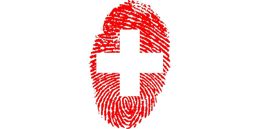Fingerabdruck im Stil eines Schweizer Kreuzes