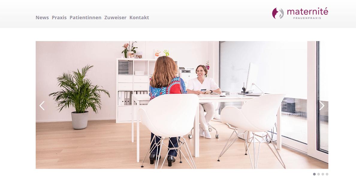 Screenshot Website frauenpraxis-maternite.ch
